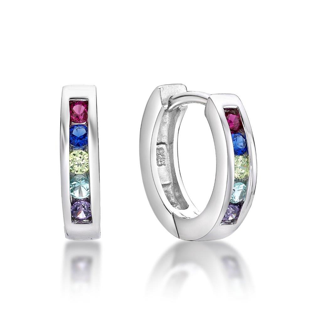 Sterling Silver Huggie Earrings with Rainbow CZ