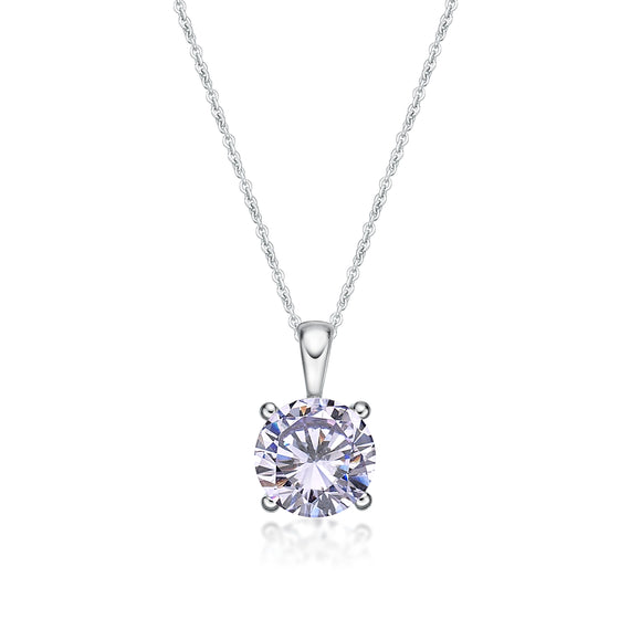 Sterling Silver 4 Claw CZ Birthstone Pendant - June