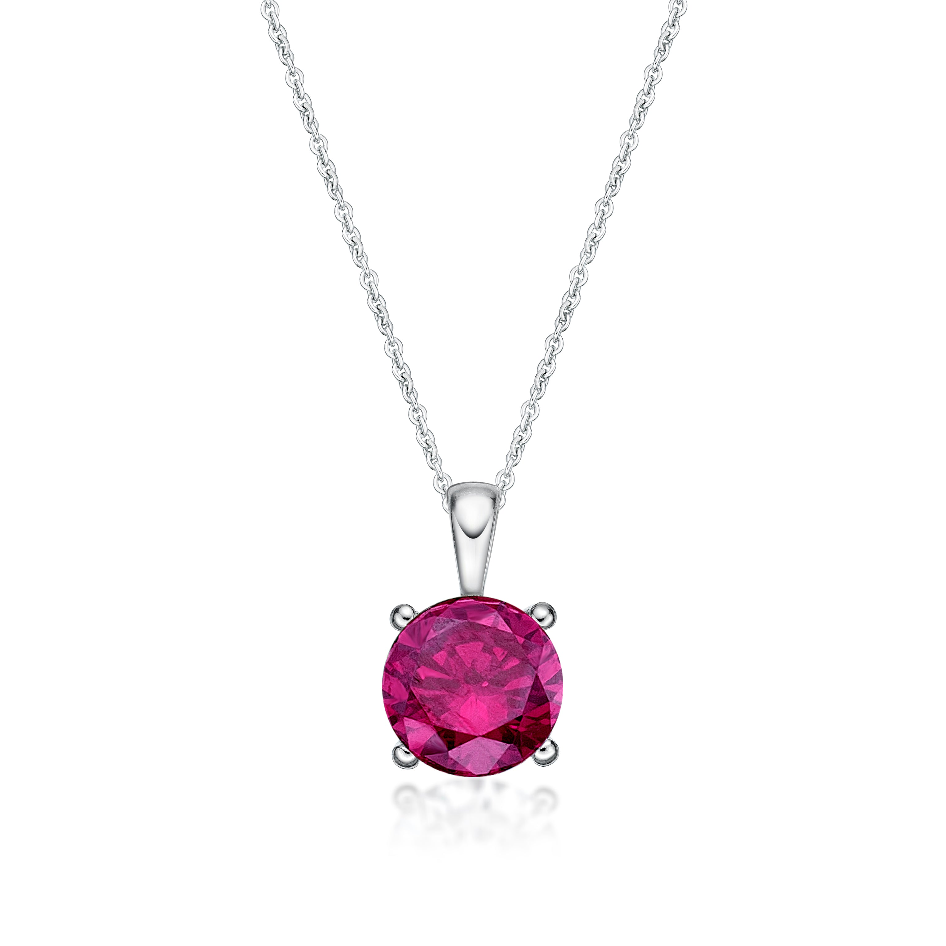 Sterling Silver 4 Claw CZ Birthstone Pendant - July