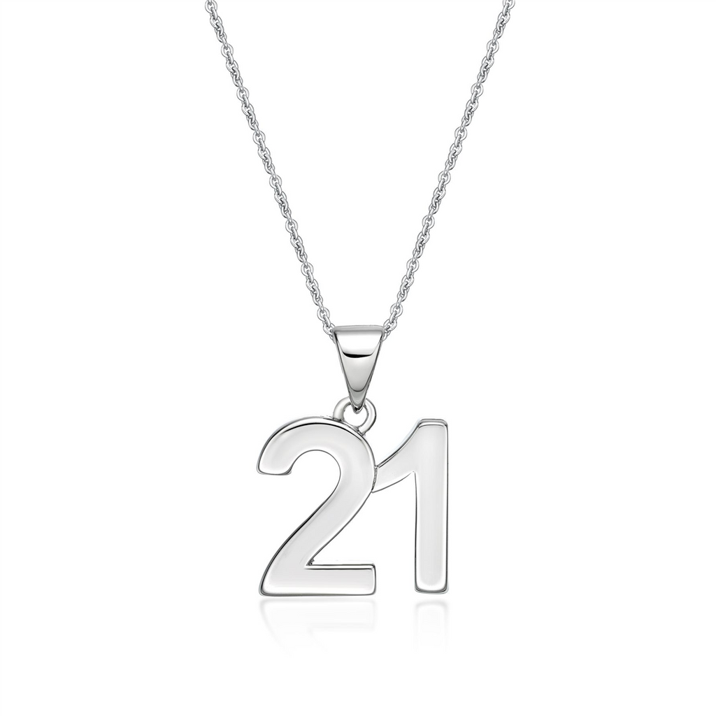 Sterling Silver '21' Pendant Necklace