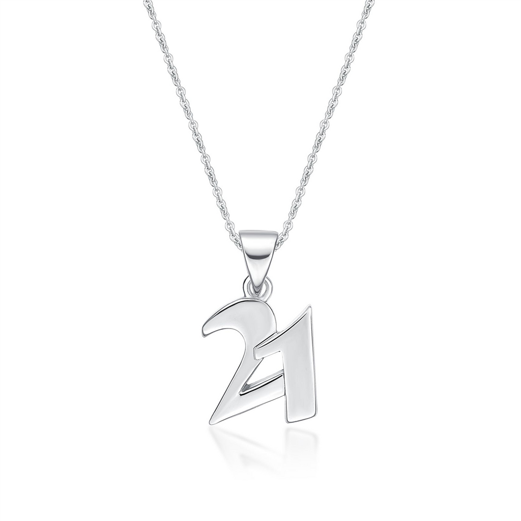 Sterling Silver Italic Font '21' Pendant Necklace
