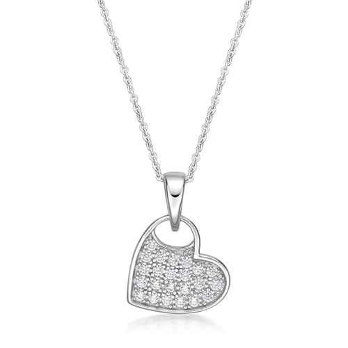 Sterling Silver Heart Pendant with CZ