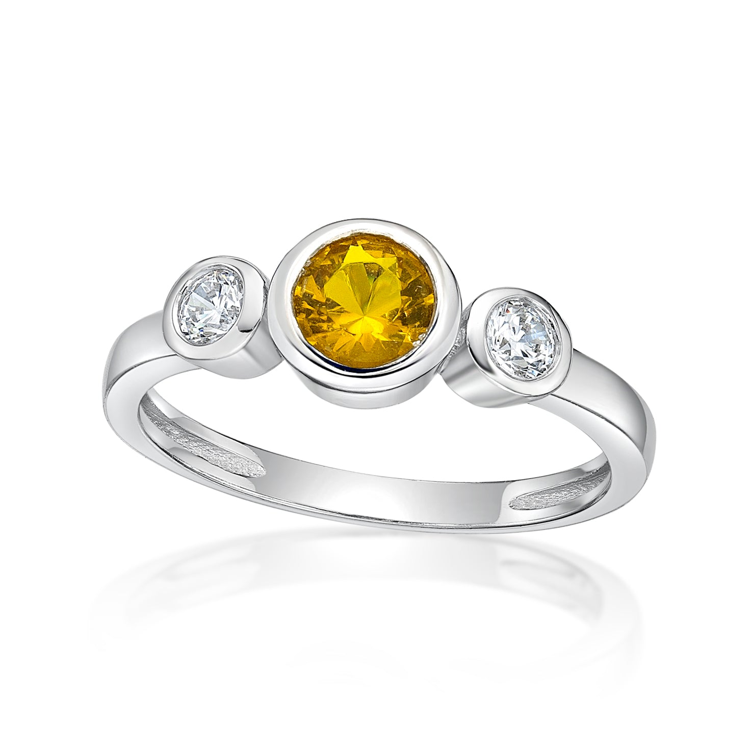 Sterling Silver Ring with Bezel Set CZ November Birthstone