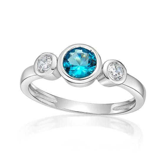 Sterling Silver Ring with Bezel Set CZ December Birthstone