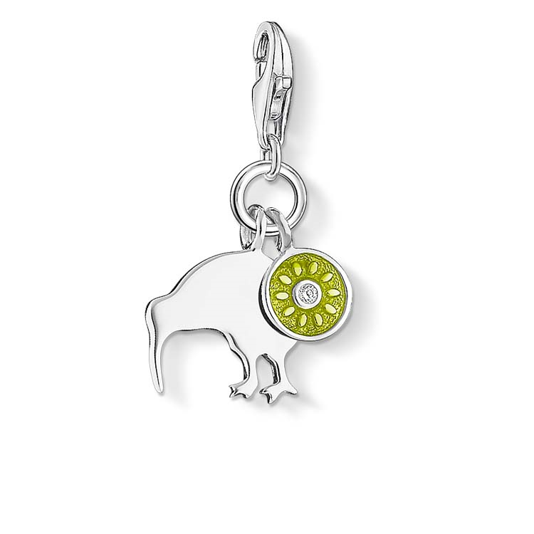 Charm Club Sterling Silver and Enamel Kiwi Bird & Fruit Charm