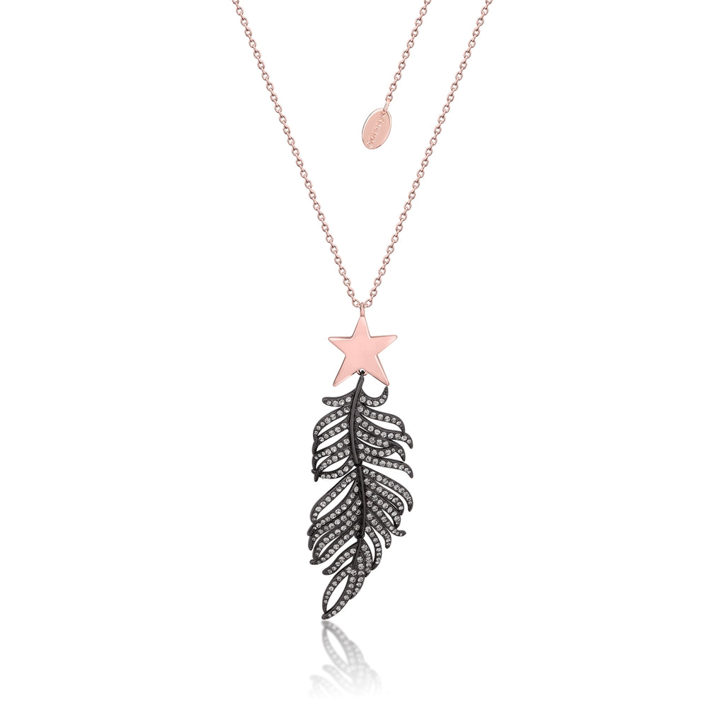 Disney Couture Kingdom Dumbo RG Plated Magic Feather Necklace with Star