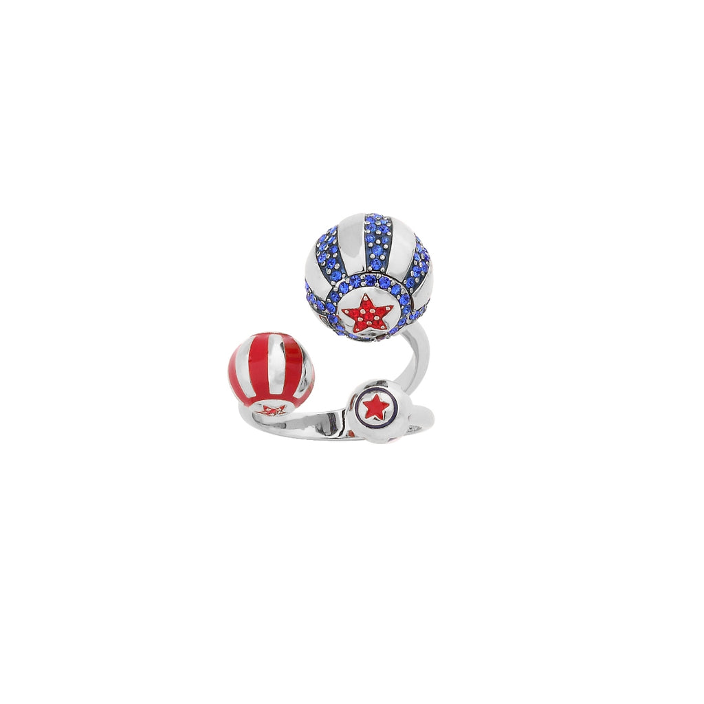 Disney Couture Kingdom Dumbo WG Plated Enamel and Crystal Circus Ball Ring