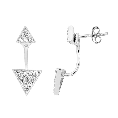 Ellani Sterling Silver Triangle Stud Earrings