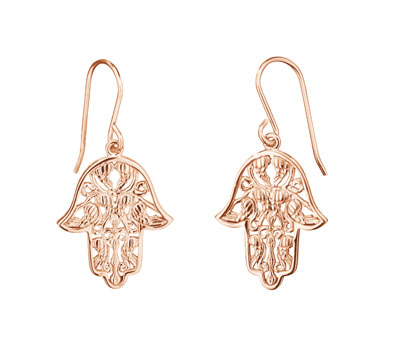Engelsrufer Sterling Silver Rose Gold Plated Fatima's Hand Earrings