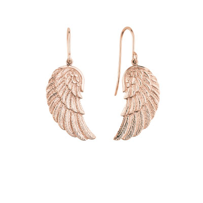 Engelsrufer Sterling Silver Rose Gold Plated Angel Wing Earrings
