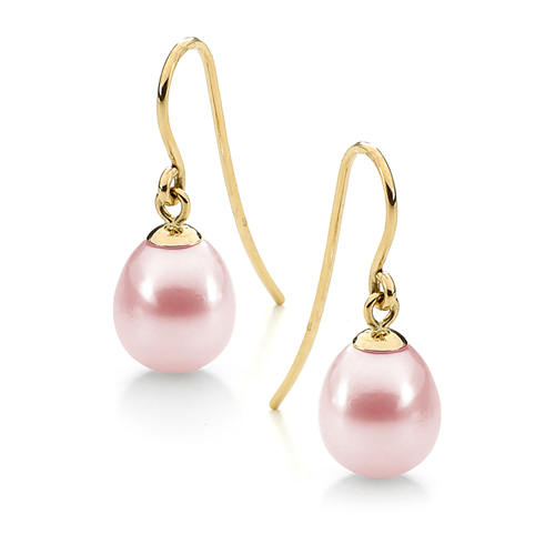 Ikecho 9ct Yellow Gold Pink Pearl Earrings