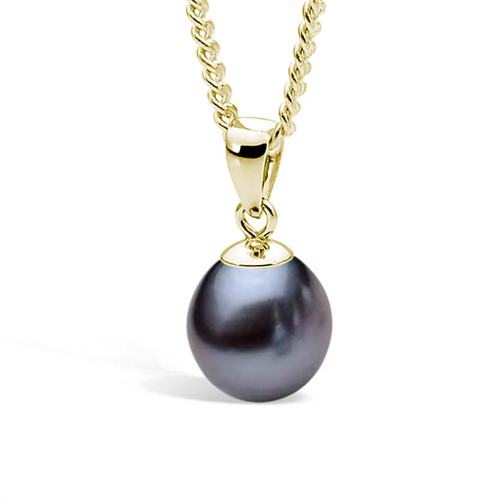 Ikecho Yellow Gold Black Pearl Pendant