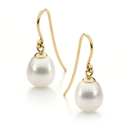 Ikecho 9ct Yellow Gold White Pearl Earrings