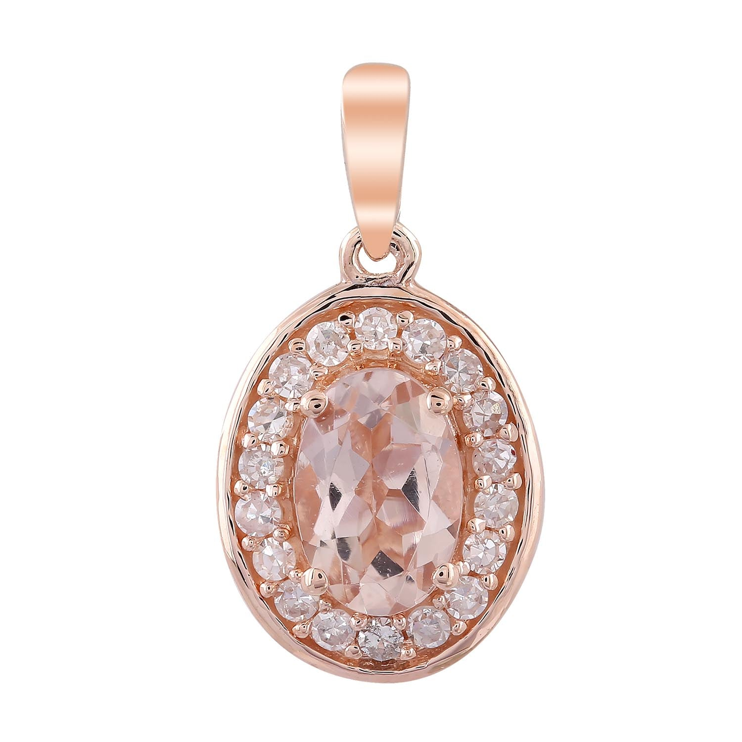9ct Rose Gold Diamond and Morganite Pendant