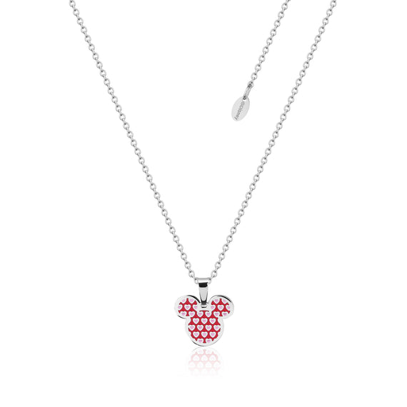 Disney Couture Kingdom Stainless Steel Mickey Love Hearts Print Necklace