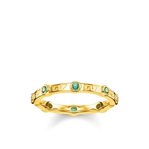 Thomas Sabo Gold Plated Tropical Green Ring