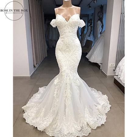 Luxury Beaded Mermaid Lace Wedding Dress Sexy Cap Sleeve Wedding Gowns Customized Sweep Train Bridal Dress Robe de Mariee