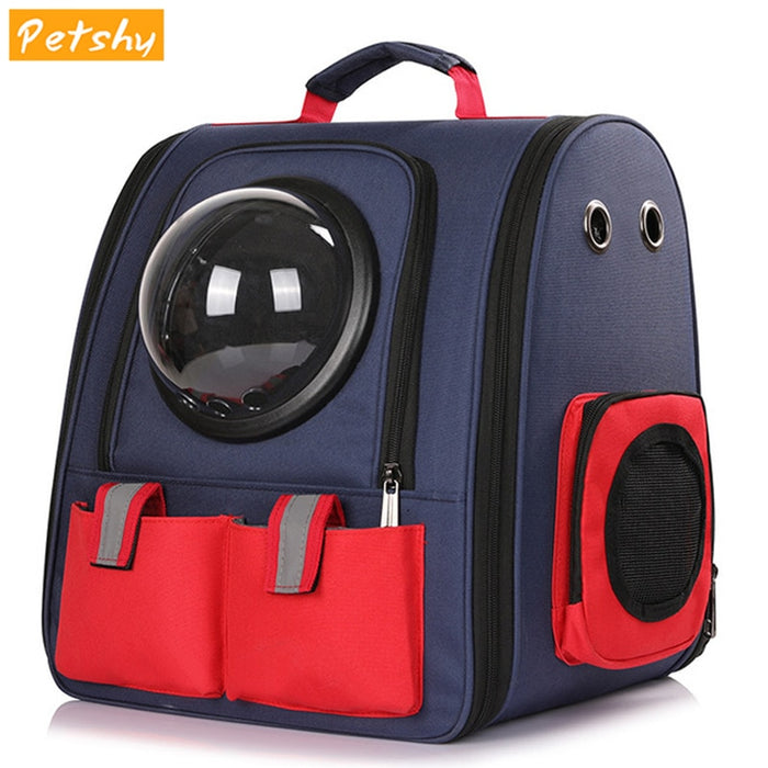 Petshy Canvas Collapsible Pet Cat Carrier Backpack Window Portable Travel Cats Puppy Space Capsule Backpack Dog Carrying Bag