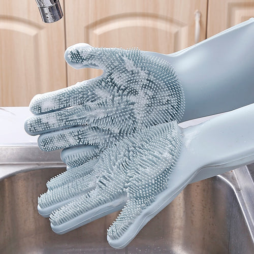 2Pcs=1 Pair Silicone Kitchen Cleaning Dishwashing Gloves Magic Scrubber Rubber Dish Washing Gloves Tools Kitchen Gadgets