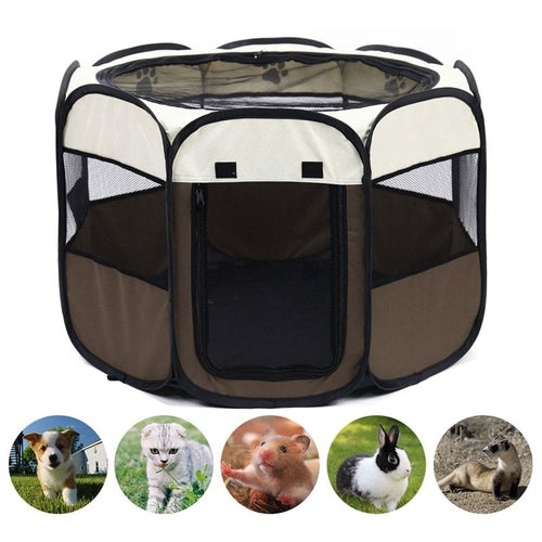 Portable Folding Pet Tent Dog House Octagonal Cage For Cat Tent Playpen Puppy Kennel Easy Operation Fence Outdoor Big Dogs House