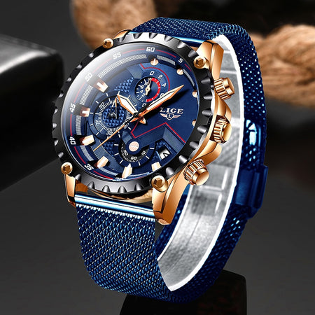 2020 New LIGE Blue Casual Mesh Belt Fashion Quartz Wristwatches Mens Watches Top Brand Luxury Waterproof Clock Relogio Masculino
