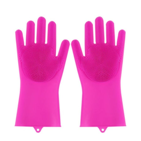 Meijuner Silicone Dishes Washing Gloves Kitchen Cleaning Waterproof Cleaning Scrubber Dish Washing Sponge Rubber for Dishes