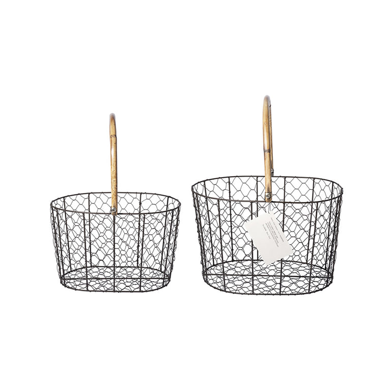 Rattan Handle Wire Basket - Large