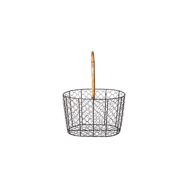 Rattan Handle Wire Basket - Small