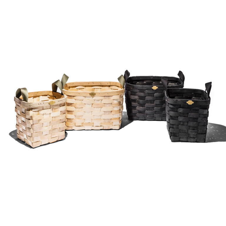 Wooden Basket Black Rectangle