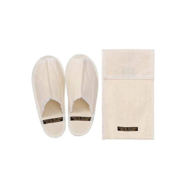 Waxed Canvas Portable Slipper Small Off White