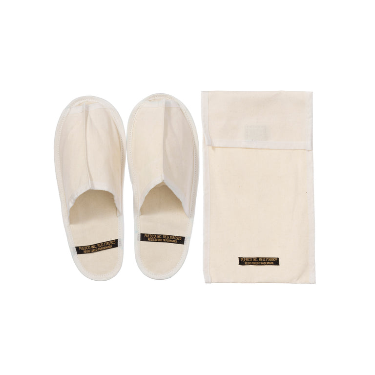 Waxed Canvas Portable Slipper Large Off White