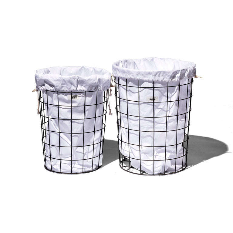 Wire Basket W/ Plain Laundry Bag - Large
