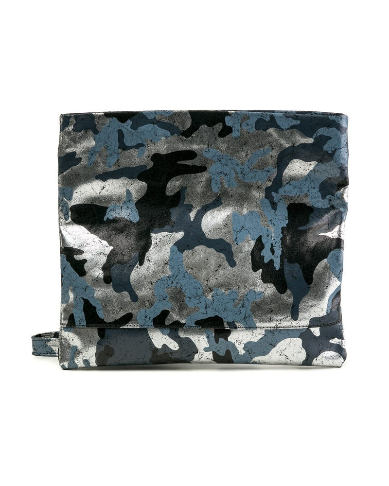 Mollie Cross-Body Convertible Clutch: Black Silver Camouflage