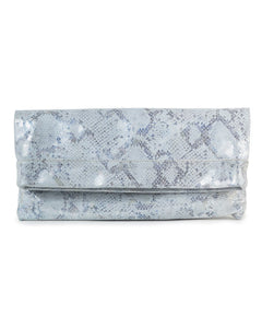 Mollie Cross-Body Convertible Clutch: White Blue Metallic