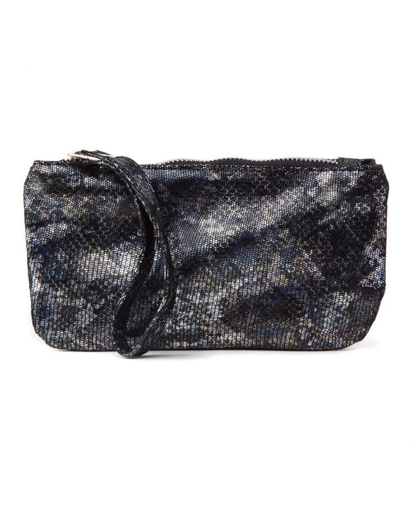 Ellie Wristlet: Blk/Blue Metallic
