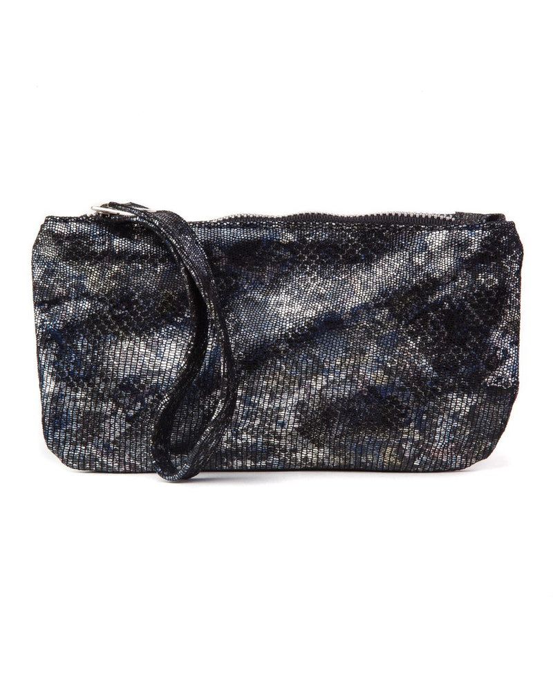 Ellie Wristlet: Black Blue Metallic
