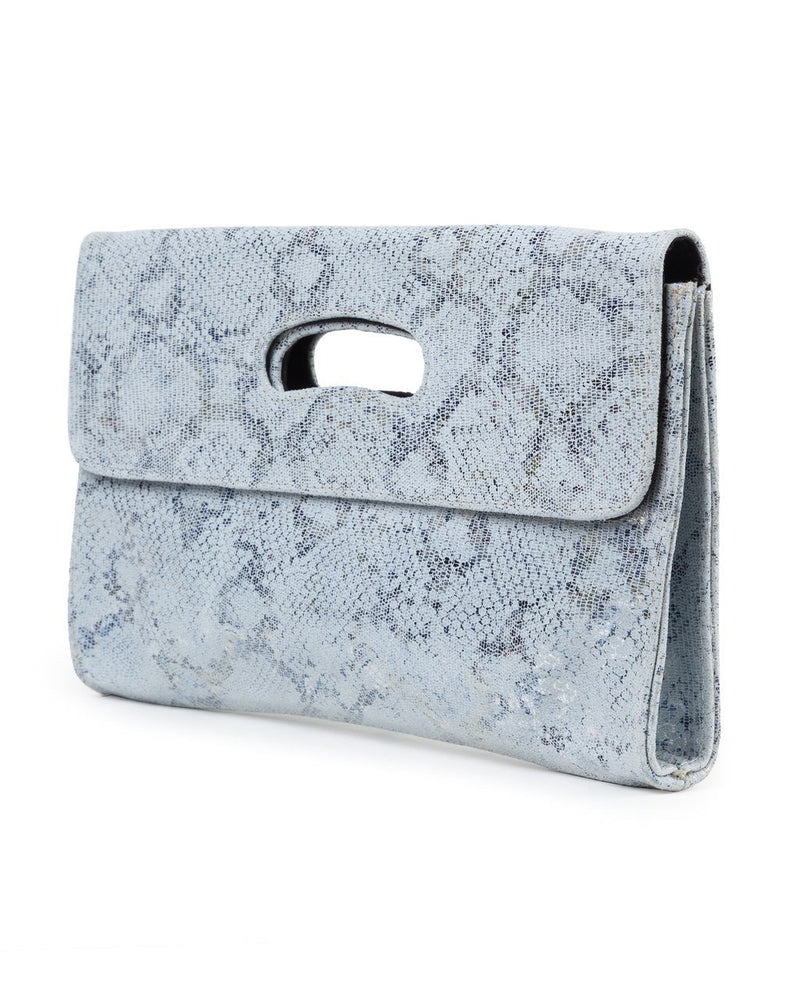Deeva Clutch: White Blue Metallic
