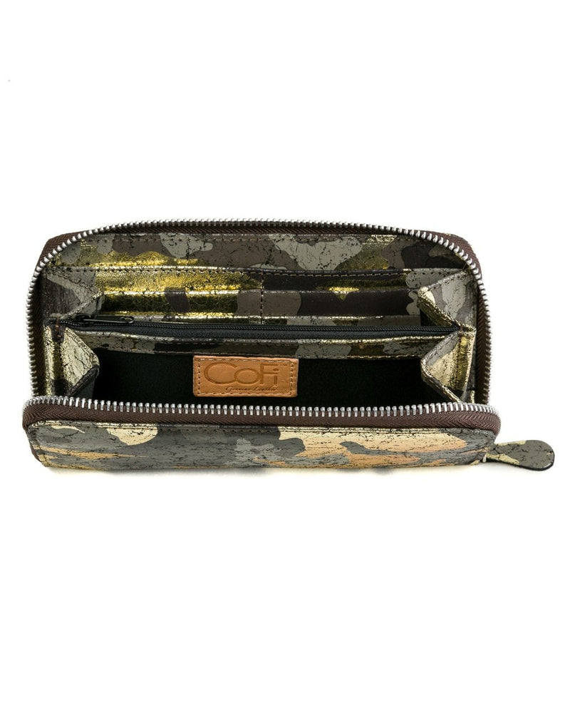 Zip Wallet: Black Gold Camouflage