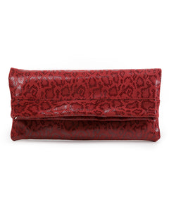 Mollie Cross-Body Convertible Clutch: Red Anaconda