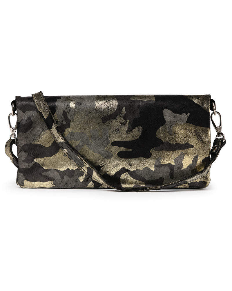 Crystal Cross Body: Black Gold Camouflage