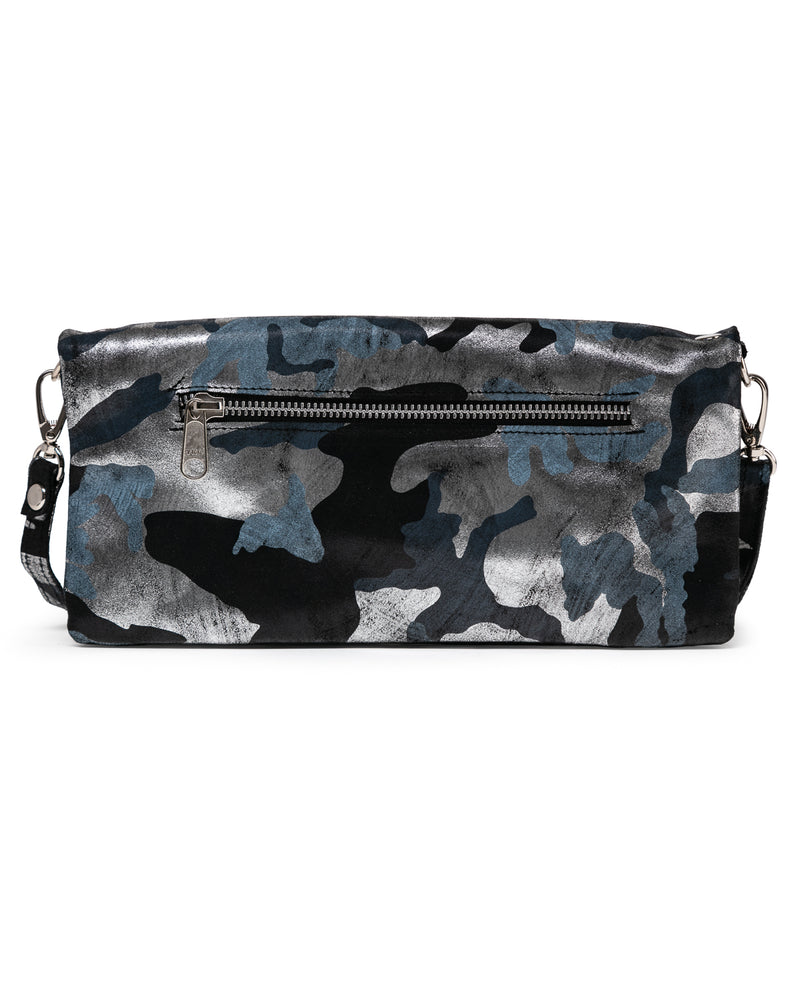 Crystal Cross Body: Black Silver Camouflage