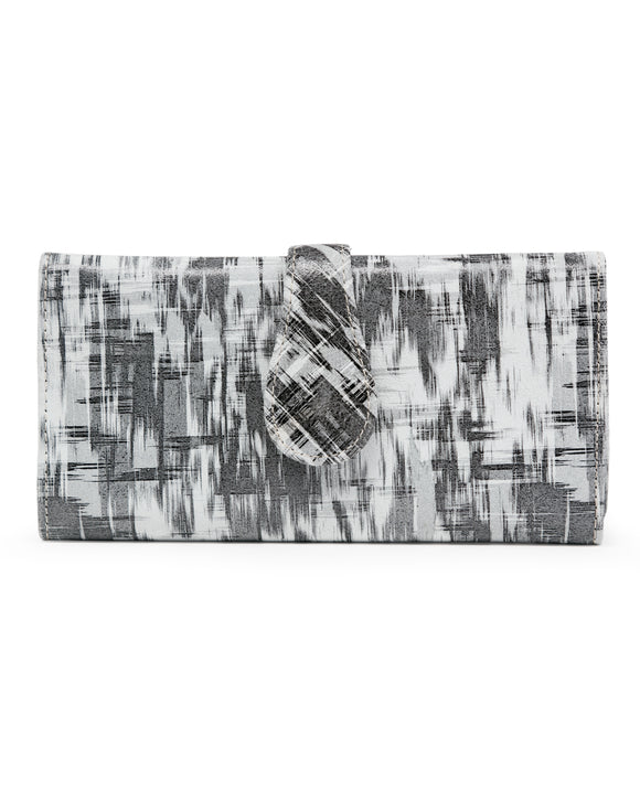 Mila Trifold Wallet: Grey Patchwork