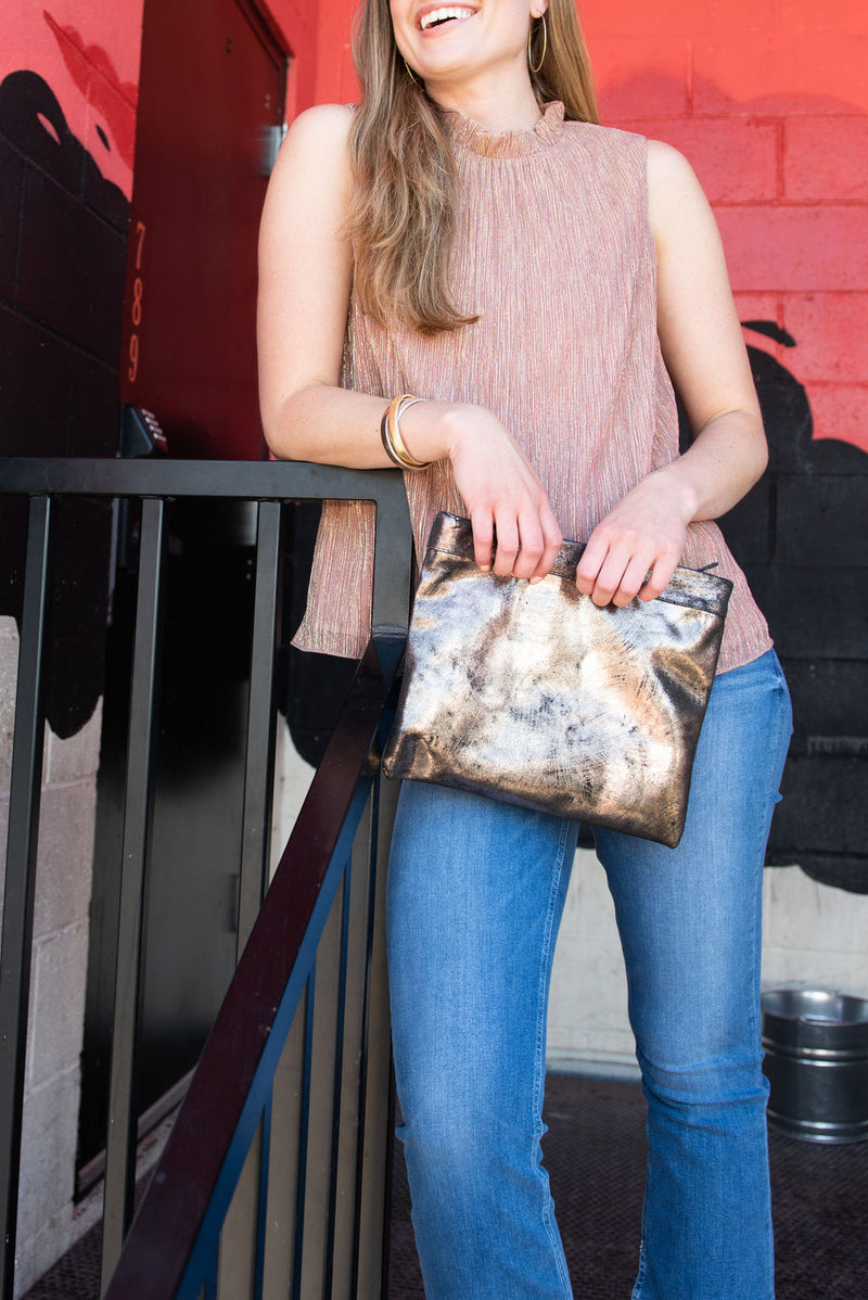Mollie Cross-Body Convertible Clutch: Rose Gold Black
