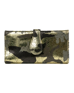Mila Trifold Wallet: Black Gold Camouflage