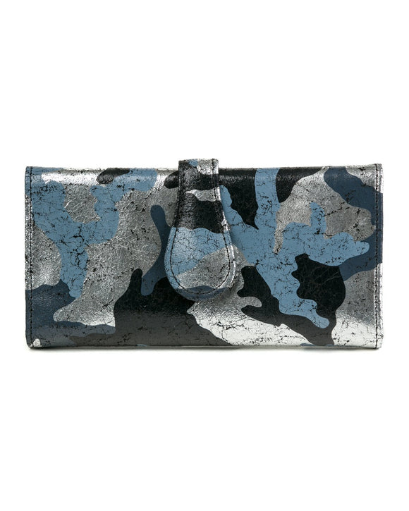 Mila Trifold Wallet: Black Silver Camouflage