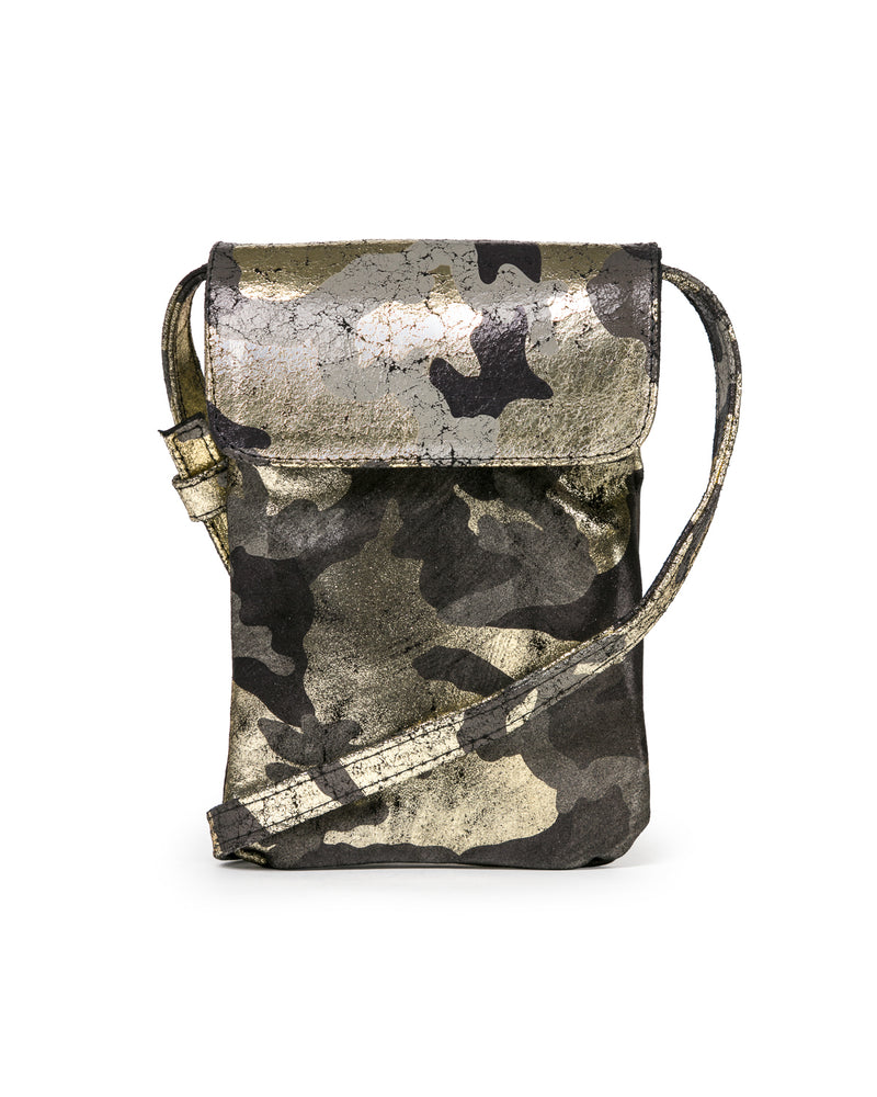 Penny Phone Bag: Black Gold Camouflage