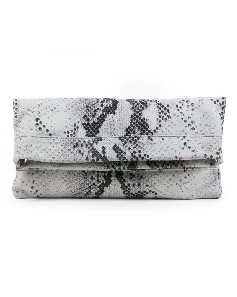 Mollie Cross Body Convertible Clutch: : White Snake