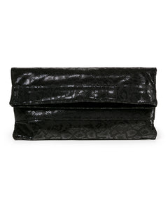Mollie Cross-Body Convertible Clutch: Black Anaconda