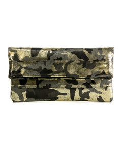 Mollie Cross-Body Convertible Clutch: Black Gold Camouflage