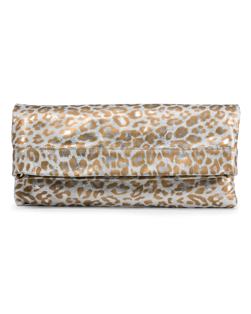 Mollie Cross-Body Convertible Clutch: White Gold Leopard